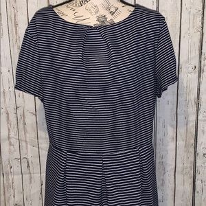 Merona navy & white striped fit and flare dress